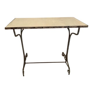 Antique Iron and Marble Small Bistro Table For Sale