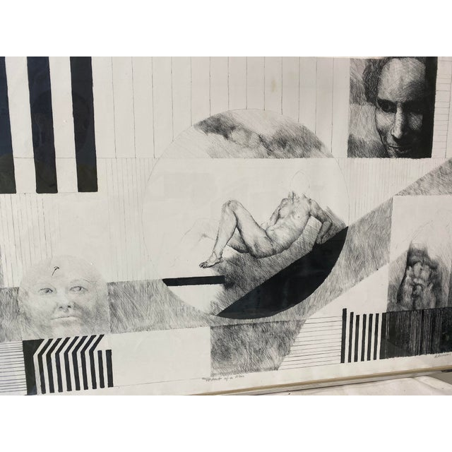 """Mixed Media, Ink & Pencil drawing on paper. Subject includes Male Figure and a portrait. """"Artists Proof"""", """"Portrait of a..."""