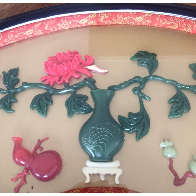 Gorgeous vintage Chinese black laquered fan shaped dioramas under glass. Three fabulous designs featuring floral vignettes...