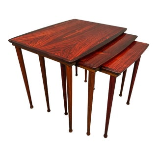 Vintage Danish Mid Century Modern Rosewood Nesting Tables by Bc Mobler For Sale