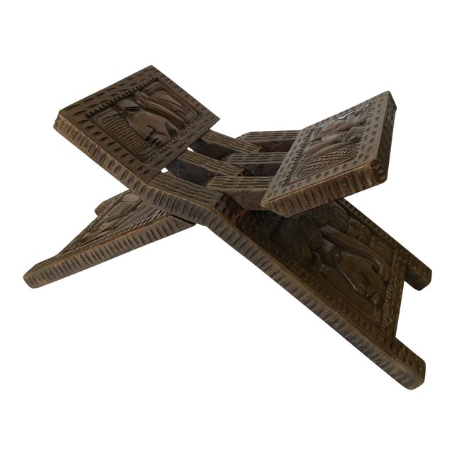 Antique Hand Carved Wooden Folding Stool For Sale