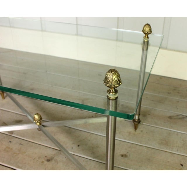 Vintage Brass Brushed Nickel X Base Coffee Table For Sale - Image 6 of 7