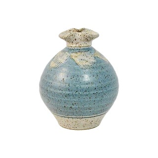 1970s Vintage Blue Feather Studio Art Pottery Vase For Sale
