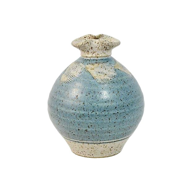 1970s Vintage Blue Feather Studio Art Pottery Vase For Sale