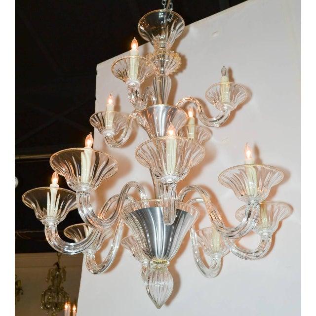 Beautiful Venetian Blown Glass Chandelier For Sale - Image 4 of 9