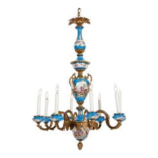Bronze Mounted / Sevres Porcelain Seven Arm Candelabras For Sale
