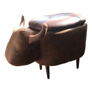 Folk Art Bull-Shaped Storage Ottoman For Sale