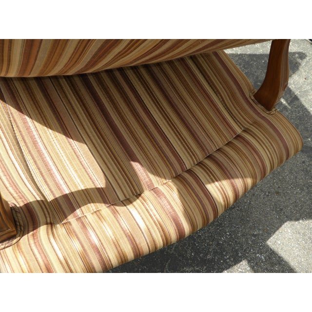 Vintage French Country Brown Stripped Accent Chairs With Down Cushions - a Pair For Sale - Image 11 of 12