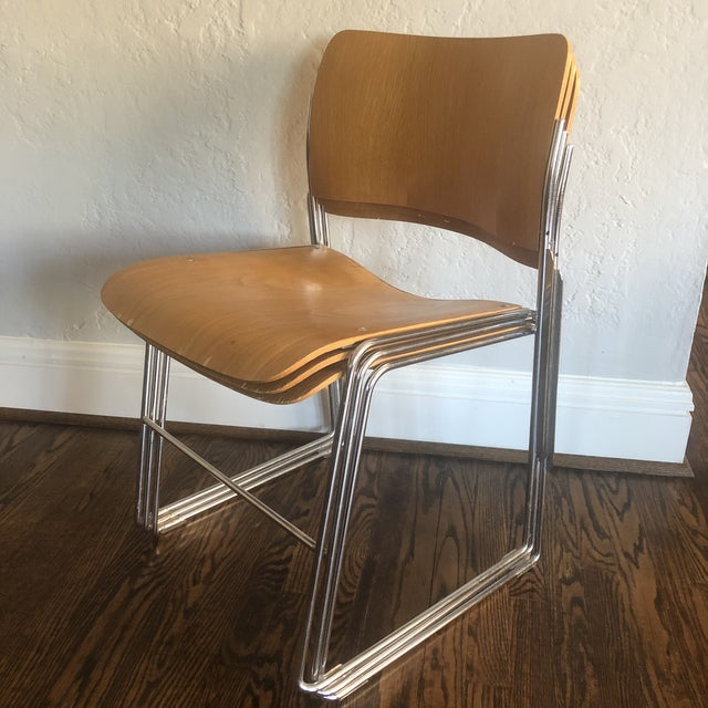 1980s Vintage David Rowland Molded Beech Wood Stackable Chairs -Set of 3 For Sale - Image 10 of 13
