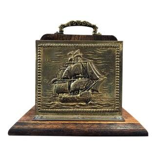 Vintage Nautical Brass Schooner Sailing Ship Letter Holder For Sale