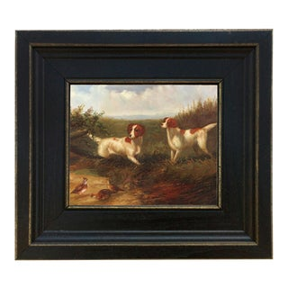 Setters on Quail Framed Oil Painting Print on Canvas in Distressed Black Wood Frame For Sale
