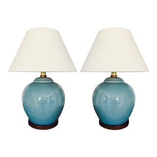 Pair of Vintage Ralph Lauren Chinese Pottery Lamps in Robin's Egg Blue For Sale