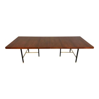 Harvey Probber Rosewood and Mahogany Dining Table With Brass Accents For Sale