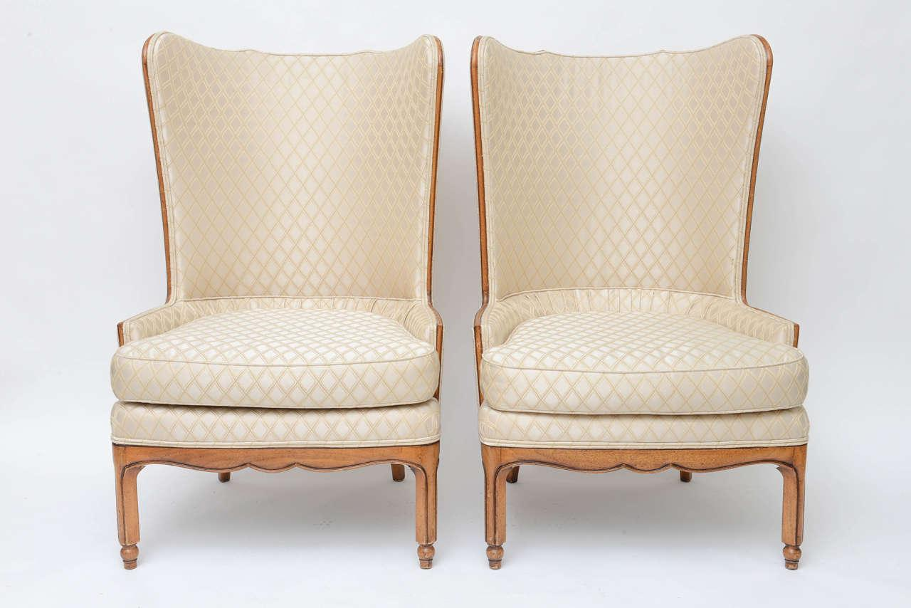 Grosfeld Style 1950 Wingback Club Chairs   A Pair   Image 2 Of 10
