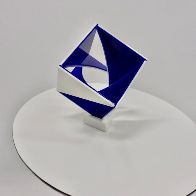 Blue and White Desk Top Lucite Cube Geometric Sculpture For Sale - Image 10 of 10