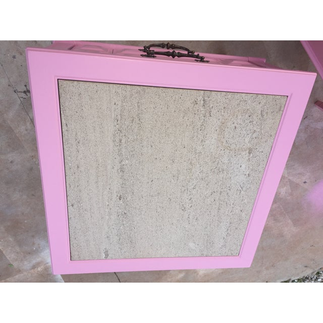 Mid 20th Century Mid-Century Modern Travertine Top Pink Lacquer Side Tables/ Nightstands- a Pair For Sale - Image 5 of 6