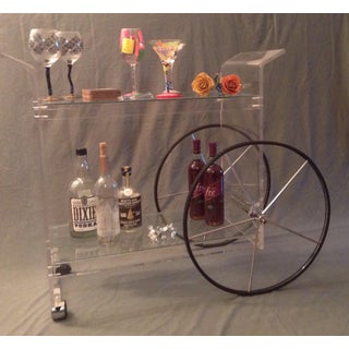 Vintage Hollywood Regency Rolling Serving Cart Curved Lucite and Grass Circa 1970s Preview
