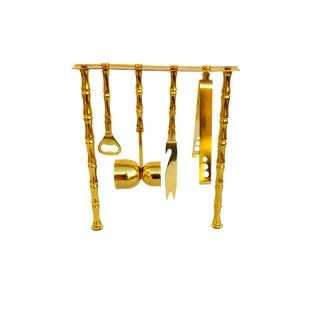 Glam Gold Faux Bamboo & Lucite Cocktail Bar Tools Set || Chinoiserie Chic Barware || Caddy Stand Jigger Tongs Knife Speed Opener For Sale