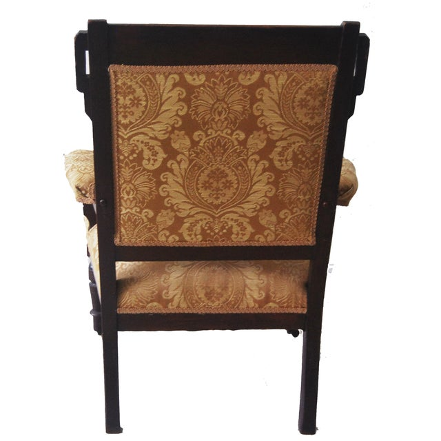 Vintage American Victorian Carved Wood Arm Chair - Image 2 of 6