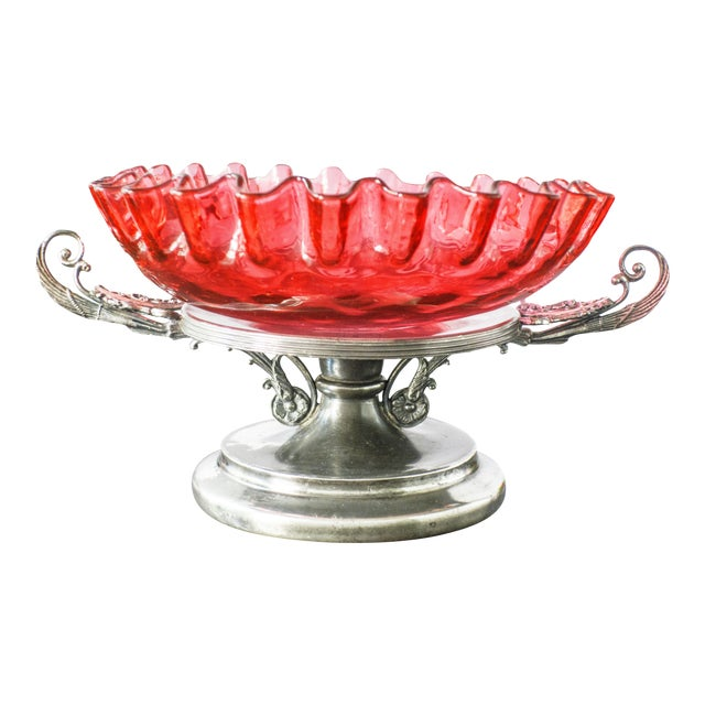 Antique Victorian Bride's Basket Cranberry Glass Bowl Centerpiece - Image 1 of 9