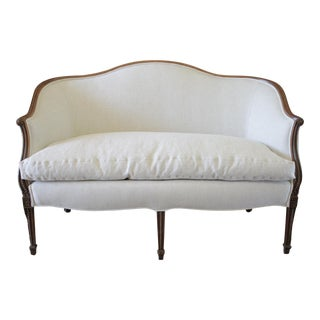 20th Century Carved Walnut and Linen Upholstered Settee