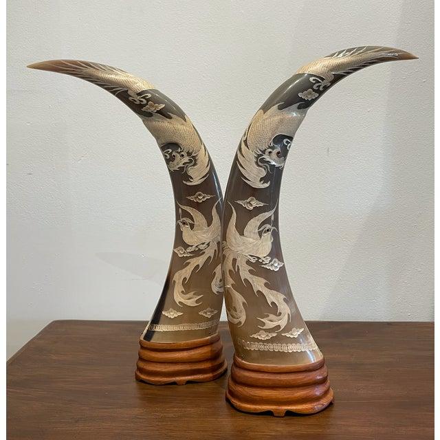 Bone Vintage Embellished Horn With Dragon Design For Sale - Image 7 of 7
