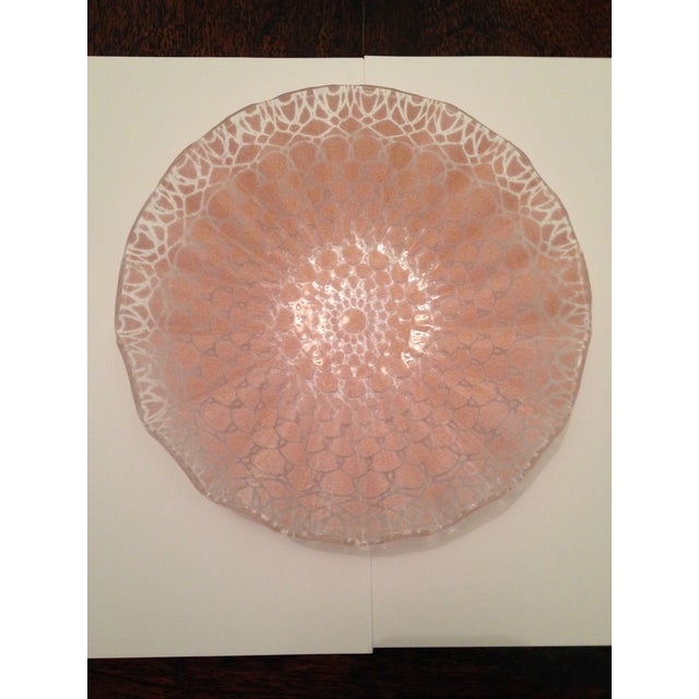 Etched Doily Pink Glass Bowl - Image 2 of 4