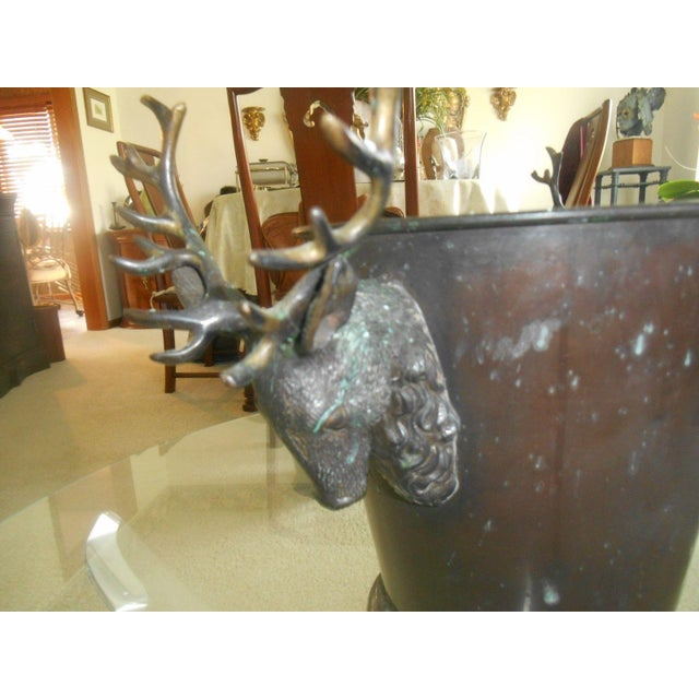 Vintage Bronze Ice Bucket with Stag Handles - Image 6 of 6