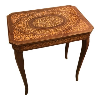 Marquetry Inlaid Accent Table, W/ Concealed Compartments, Italy For Sale