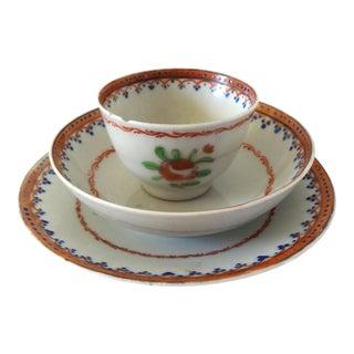 Antique 18th-Century Chinese Export Porcelain Famille Rose Miniature Child's Tea Cup Trio Set For Sale