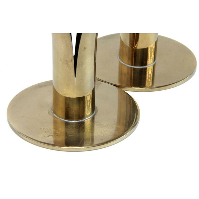 Ystad Metall Mid-Century Swedish Brass Candlesticks - A Pair For Sale - Image 4 of 7