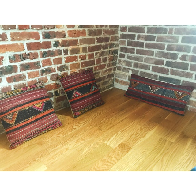 Boho Chic Vintage Turkish Kilim Pillows - Set of 3 For Sale - Image 3 of 9