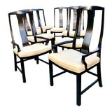 Image of Baker Furniture Ming Style Black Dining Chairs - Set of 8 For Sale