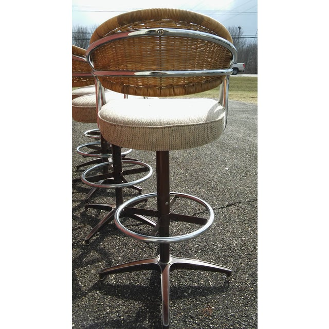 Chrome Vintage Samsonite Wicker & Upholstered Swivel Bar Stools - Set of 4 For Sale - Image 7 of 11