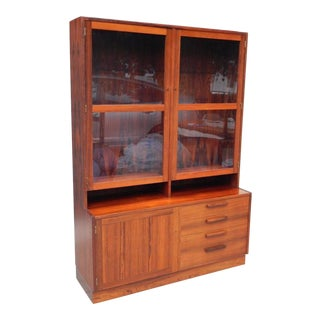 1960s Swedish Mid-Century Modern Rosewood Glass Front Cabinet For Sale
