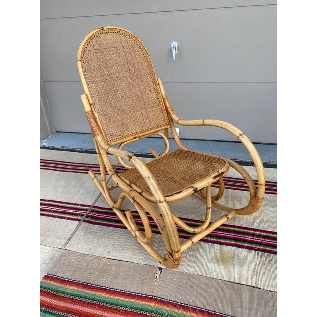 Vintage Mid Century Modern Tiki Bent Bamboo Wood Rocking Chair For Sale - Image 6 of 13