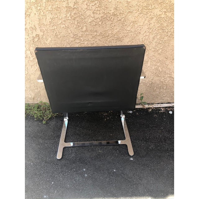 Vintage Knoll Chrome Black Chair For Sale In Los Angeles - Image 6 of 8