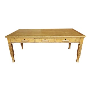 Vintage French Neoclassic Country 3 Drawer Antique Oak Dining Table or Executive Desk