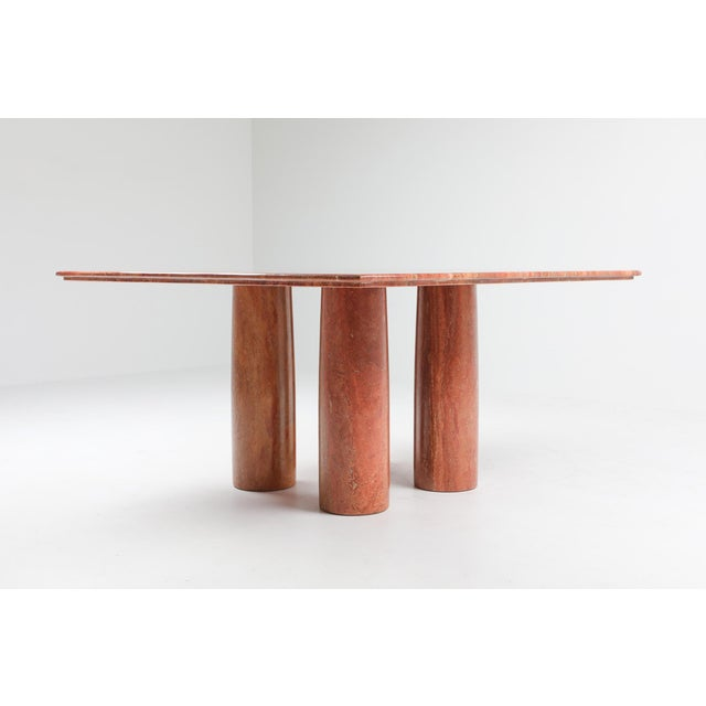 Italian Mario Bellini's Red Travertine 'Il Collonato' Dining Table For Sale - Image 3 of 11
