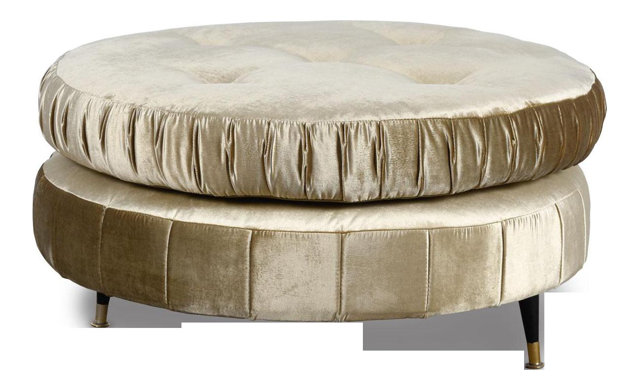 Picture of: Oversized Round Mid Century Modern Pouf Ottoman In Champagne Velvet Chairish
