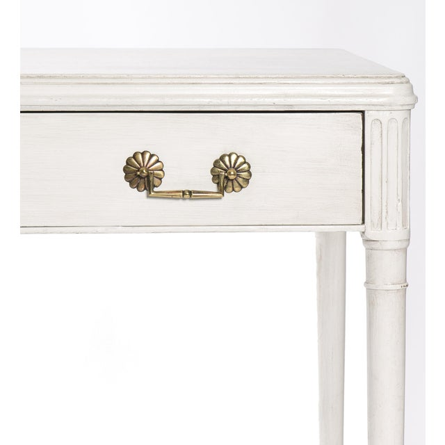 1940s Newly Refinished White Painted Writing Desk/ Vanity by Widdicomb - Image 6 of 7
