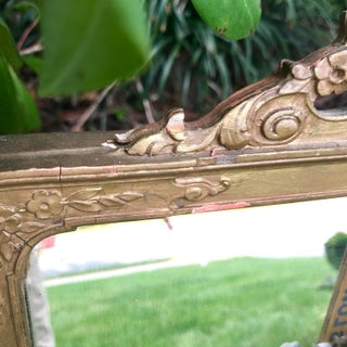 """19th Century French Louis XVI Gilt Wood Trumeau Etched Glass Mirror With Floral and Shell Motif. 39"""" Preview"""