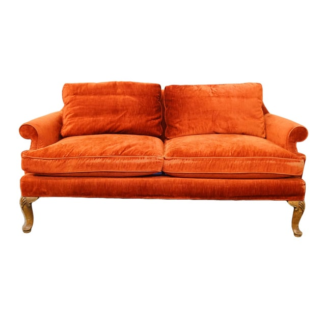 Henredon Furniture Rust Red Upholstered Loveseat / Sofa For Sale - Image 10 of 10