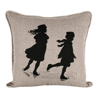 Children Skating Silhouette Pillow For Sale