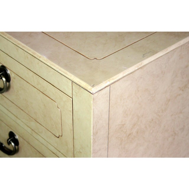Brass Faux Parchment Lacquered Chinoiserie Credenza For Sale - Image 7 of 11