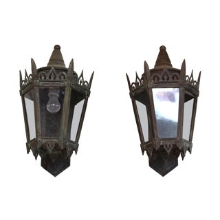 Art Deco Bronze Exterior Sconces - a Pair