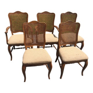 Louis XV-Styled Wooden Upholstered Cane-Backed Dining Chairs - Set of 5 For Sale