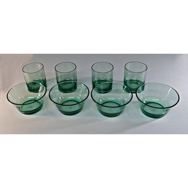 Mid-Century Modern Retro Style Acrylic Green Glassware Set For Sale - Image 3 of 7