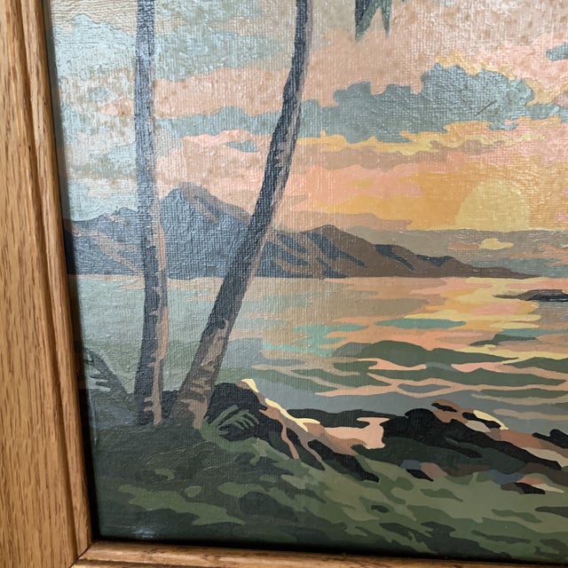 Palm Trees Paint by Numbers in Frame For Sale - Image 4 of 6