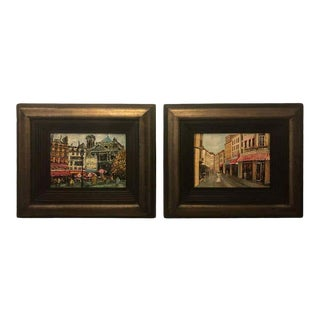 1990s Parisian Street Scenes Oil on Canvas Paintings Signed R. Roywilsens - a Pair, Framed For Sale